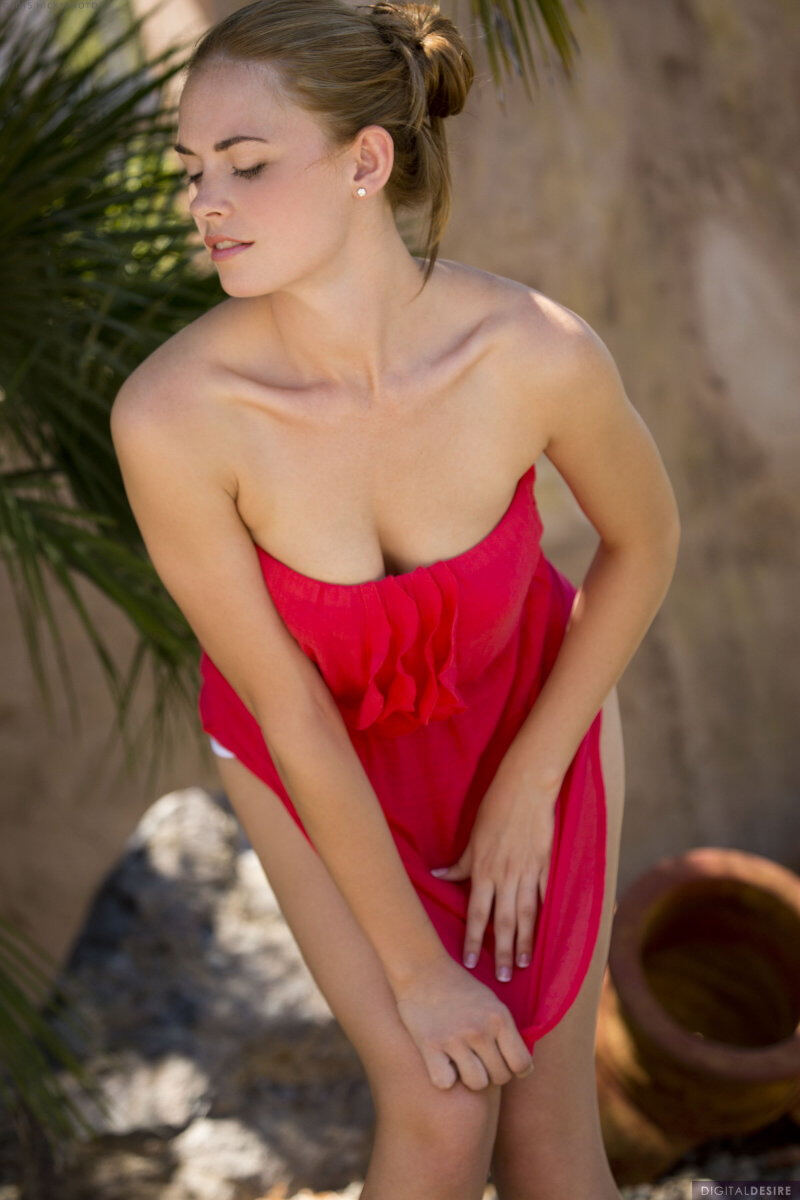 Erotic photos with Bailey Rayne: Girl in red under palm