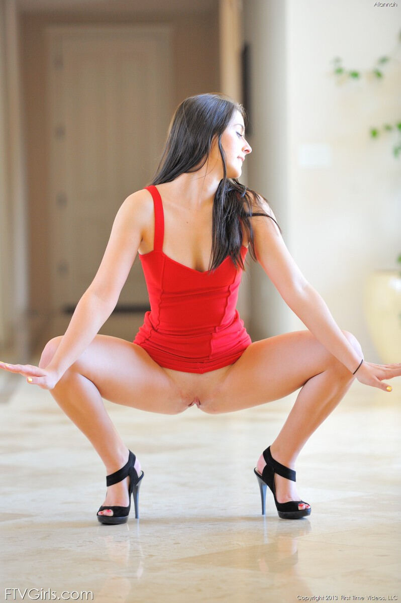 Erotic photos with Alannah: Naughty girl in red dress