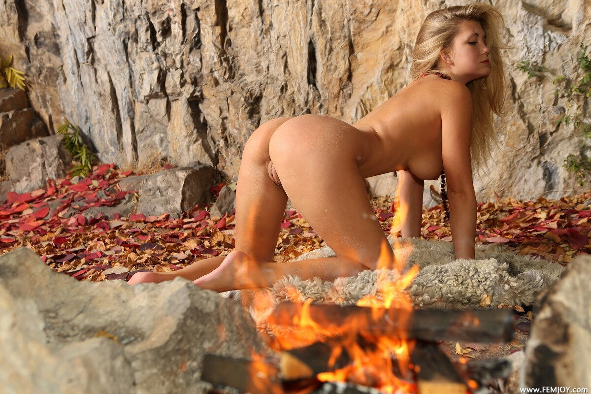 Erotic photos with April E: Light My Fire with hot blonde