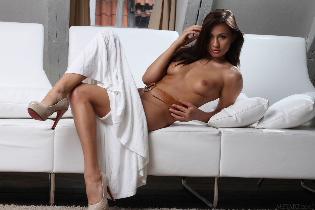 Erotic photos with Michaela Isizzu: WOW girl in white dress