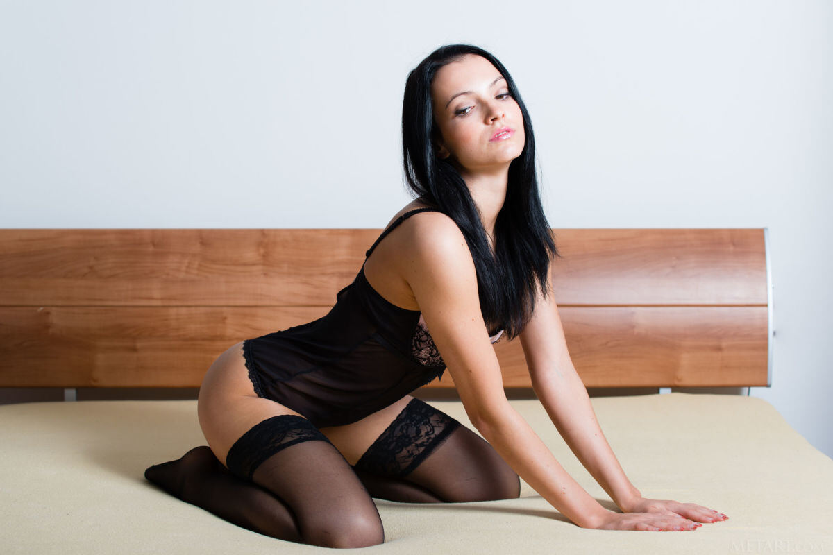 Erotic photos with Sapphira A: Slender girl in black stockings